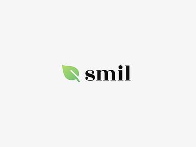 Smil Logo green leaf norway design logo vegan smil