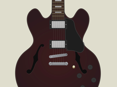 Gibson 335 guitar illustration music