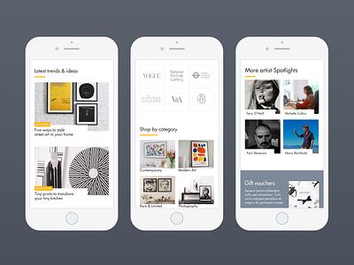 Art retail website clean mobile e-commerce