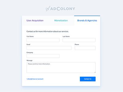 AdColony - Registration tab landing sign up register ux ui form bootstrap