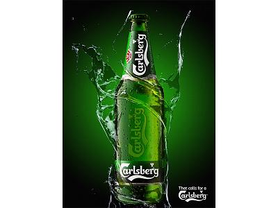 Carlsberg vray realflow cgi splashes bottle 3d