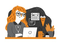 Desk Worker White Paper Illustration