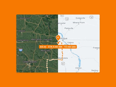 Tracking a dispatch on street or sat maps route