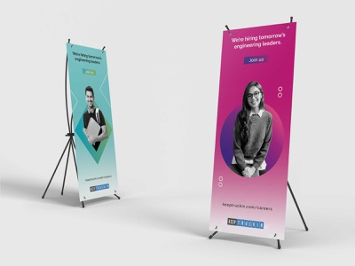 Recruitment posters and t-shirts branding illustration