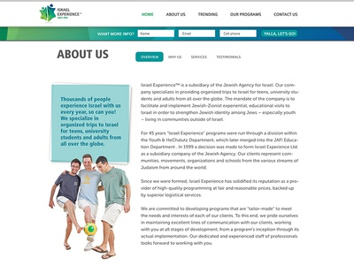 Israel Experience Website- About