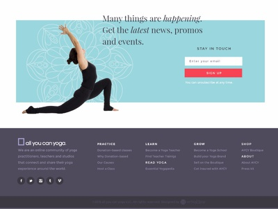 Web Newsletter Subscription made with invision footer yoga vertical loop web design website