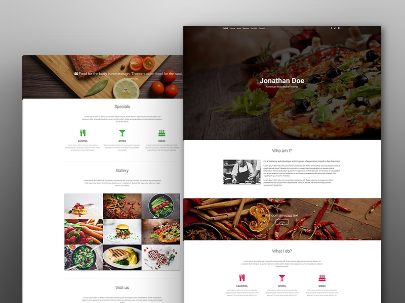 Culinary portfolio template by mdbootstrap dribbble for Chef portfolio template