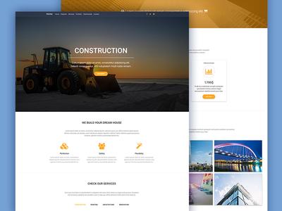 Construction Landing Page bootstrap design meterial design business portfolio architect landignpage contruction