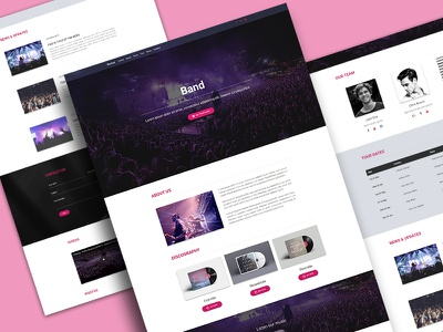 Music Band Landing Page material design landing page music band