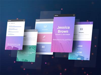 Designer template with cool gradients graphic designer portfolio gradients material design