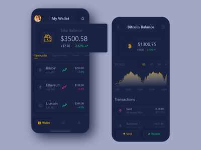 Cryptocurrency Wallet App Design Dark interface dark app ux ui token statistic payment mobile ios ico exchange ethereum design currency cryptocurrency crypto clean btc wallet bitcoin