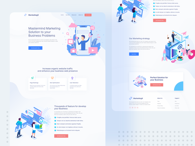 Marketing Agency Website - Marketing X ui ux kit top design trending graphics popular popular design pattern design design modern clean new trend ui minimal design landing page landing page icon vector dribbble best shot creative design illustration corporate agency clean ui clean design best design