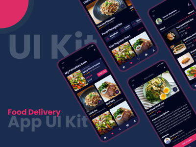 Food Delivery App UI Kit Dark Food App food delivary free ui kit ui kit food app ux user usability up ui special simplicity sign registrations login interface experience freebie food light food dark food ui
