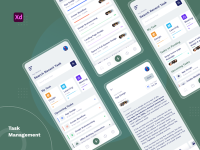 Task management App Concept experience design interface app-ux app-ui biege green leaves illustration app-design web-design ux ui modern clean dashboard management task