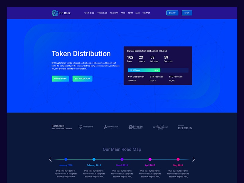 Bitcoin & Crypto currency Landing Page 02 web ui timer tech purple page landing isometric illustration dark crypto bitcoin