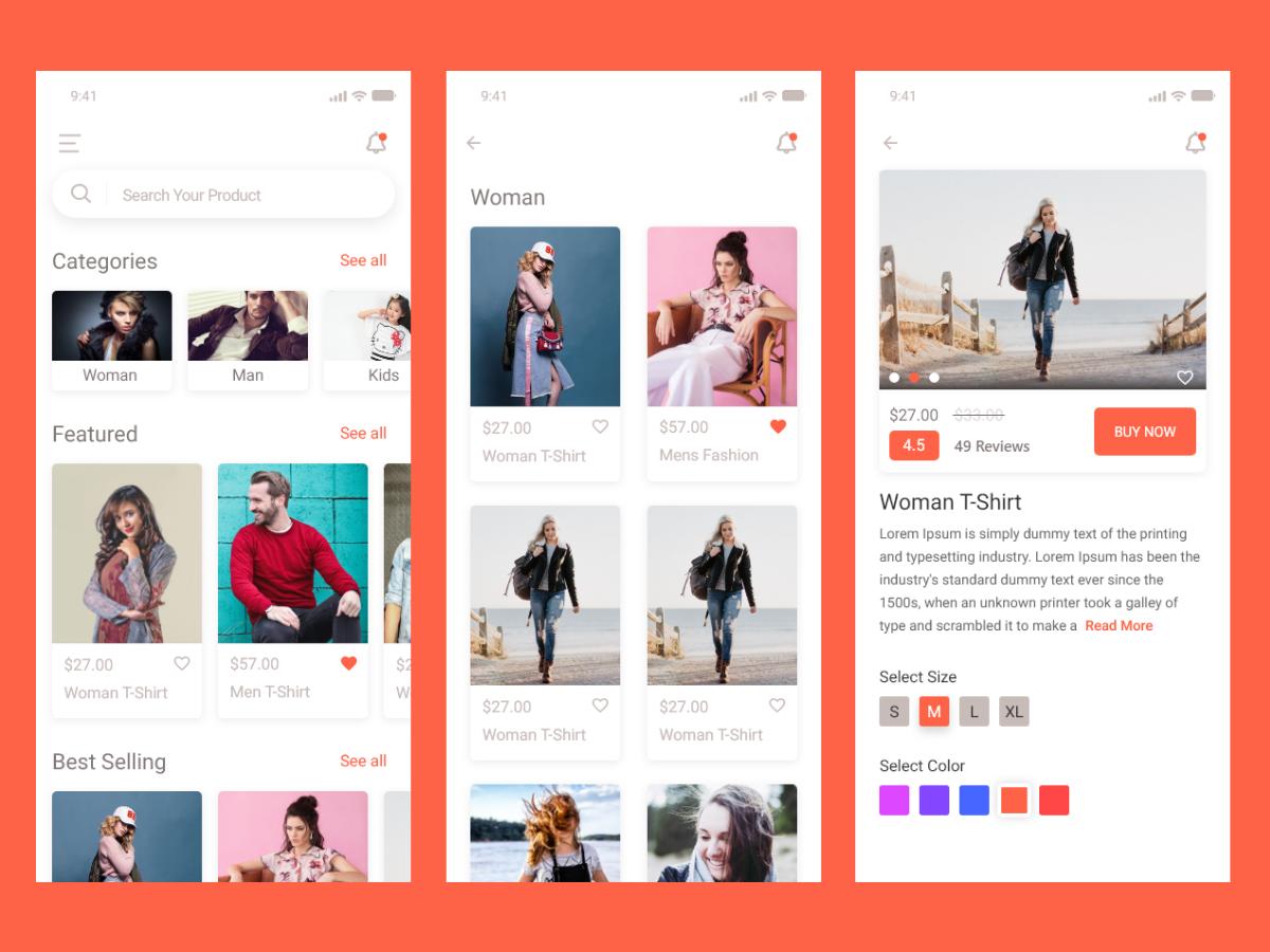 E-commerce app ui kit app typography user illustration landing flat minimal design experience website ux interface page freebie xd ui