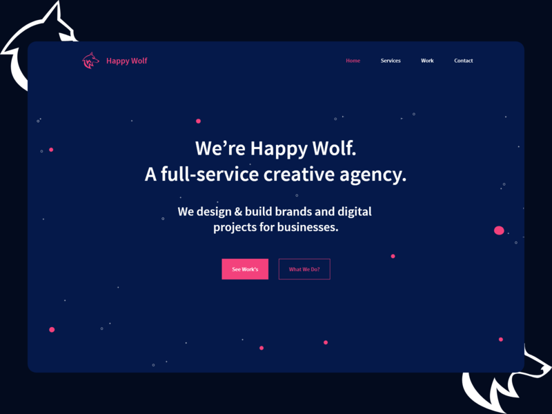 Happy Wolf Hore Image user flat ui ux branding page minimal website design interface vector art ui illustration trend poster people leaf  mushroom illustration home page hero image banner