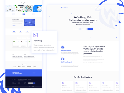 Happy Wolf Landing Page clean typography creative case behance app agency user landing illustration web flat minimal experience design website interface ux page ui