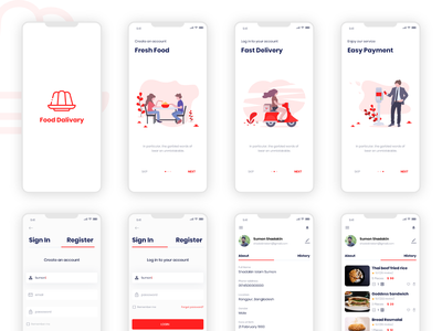 Onboarding and profile for food app signin profile ux food delivery application food app ui free android food and drink ios app design app ui food design food truck ecommerce ui kit food app onboarding food delivery app food freebie