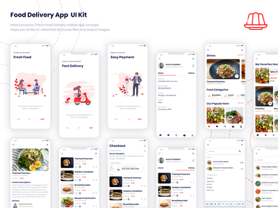 Food Delivery App  Ui Kit page minimal landing android and ios interface illustration flat experience design creative case behance app agency freebie ui kit freebie food delivary food app