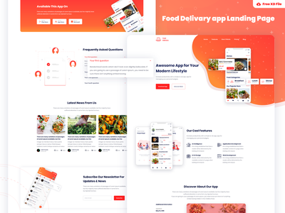 Food Delivery App Landing Page Freebie landing minimal ux user usability up ui special simplicity sign registration login interface experience freebie saas landing page landing page app landing free download food delivary