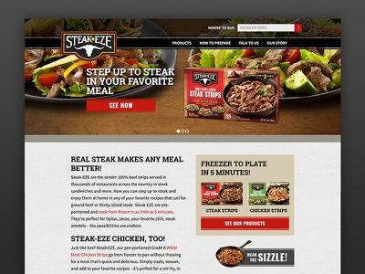 Steakeze Web Design steak food frozen design website