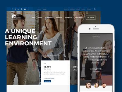 IE University RWD minimal smartphone web design interface type color ui ux faculty university responsive