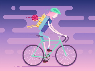 Hello Dribbble: First Shot drawing debut art motion illustration bicycle bike cat welcome shot first shot