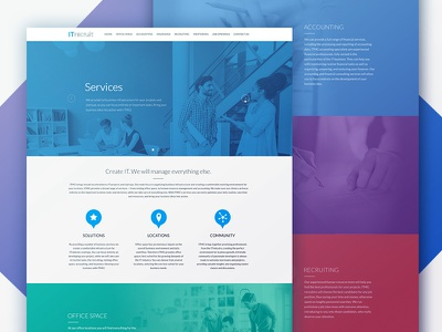 Website for ITrecruit bright flat design scroll parallax single page photo colorful big background images fullscreen design website web