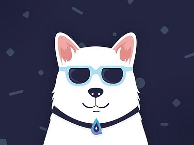 Elixir Club Dog for Stickers white dog flat illustration cute simple illustration animal glasses cool dog