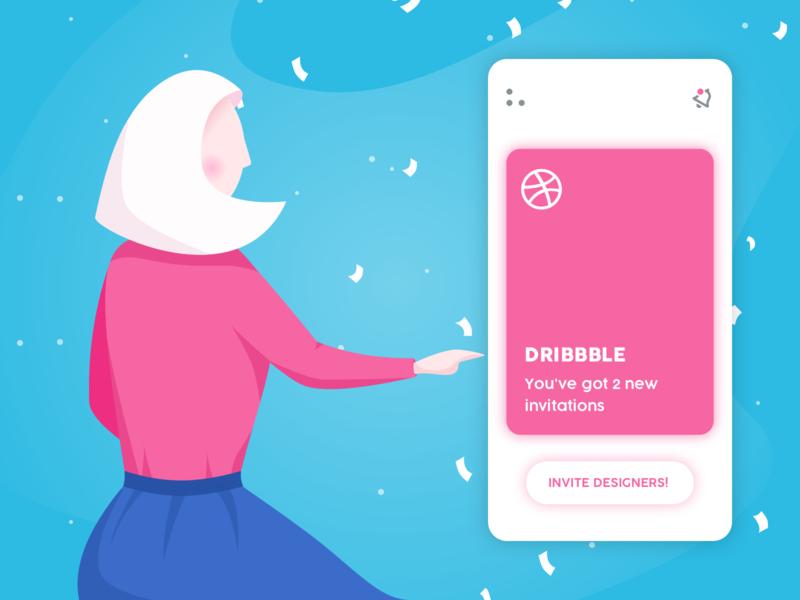 2 Dribbble invitations design invites ui simple vector illustration