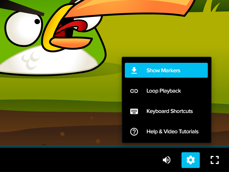 Video Player menu settings player video collaboration versions approval review files markup comments annotations