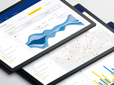 Delivery Trends and Analysis graphs. iot delivery compare routes preview trend map data analysis charts