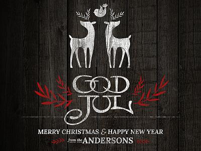 God Jul card logo wood type merry christmas god jul