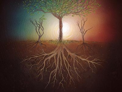 Homeward Album Art roots pencil acrylic illustration trees album homeward