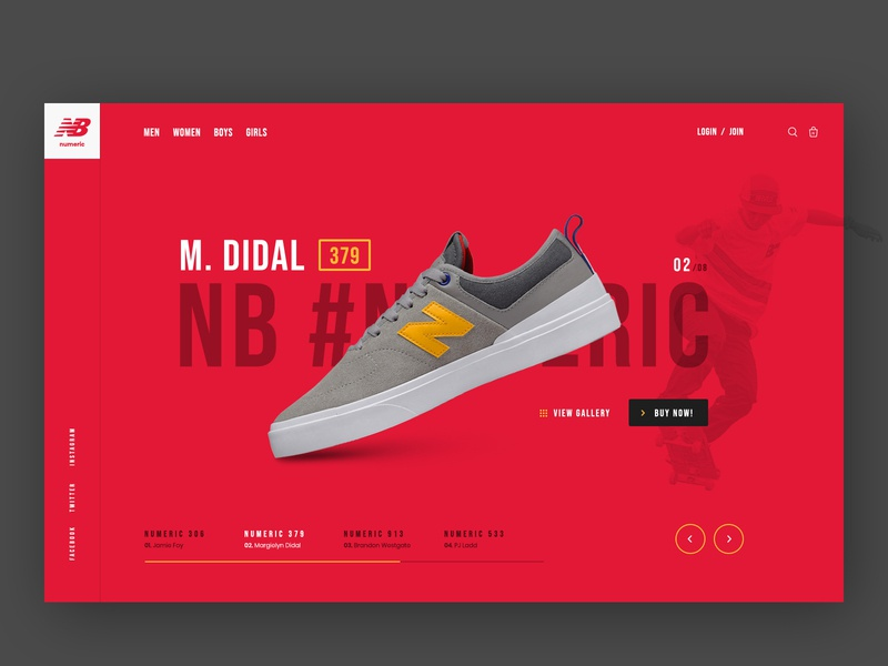New Balance Numeric Pro model Landing Page Concept