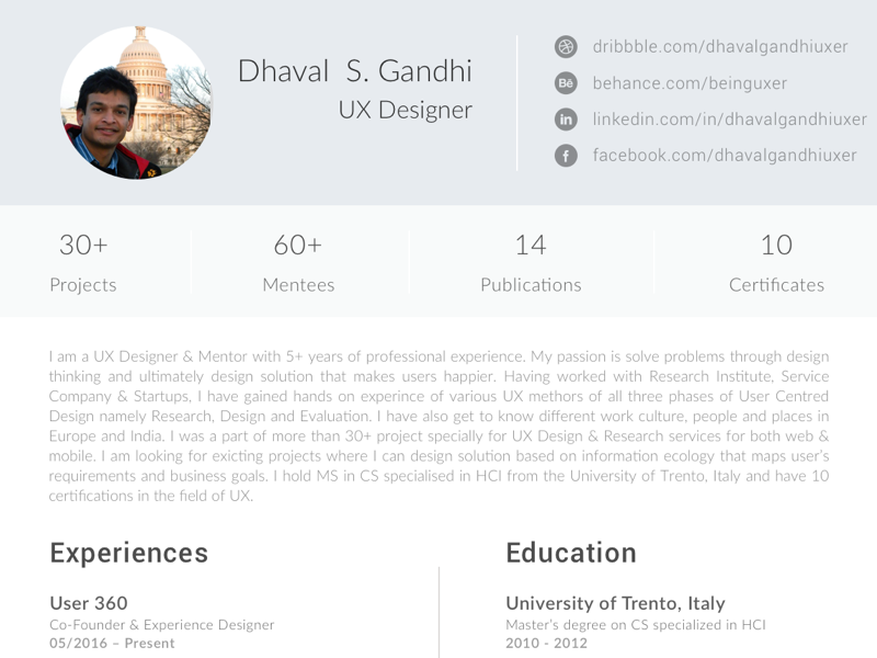 Free Resume Template For Ui Ux Designers By Dhaval S Gandhi Dribbble