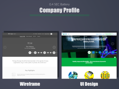 SEC Battery - Company Profile web user experience portfolio ui wireframe expert ux india designer design best top