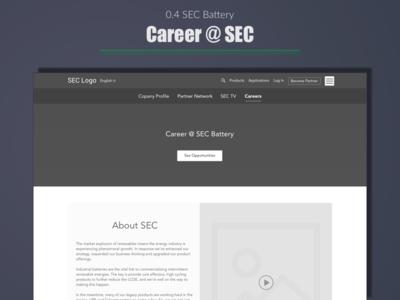 SEC Battery - Career Page web user experience portfolio ui wireframe expert ux india designer design best top