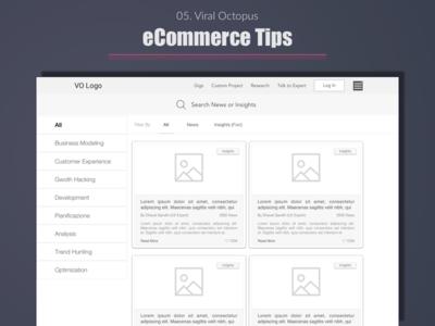Viral Octopus - eCommerce Tips (Blog Listing) listing user experience portfolio ui wireframe expert ux india designer design best top