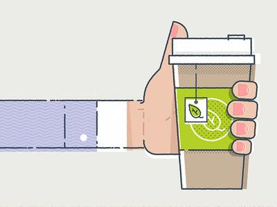 Cup of Tea?  illustration stroke pattern half-tone hand fingers hot! tea