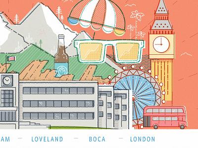 Location Location Location boca colorado mountains beer london san francisco new york city illustration