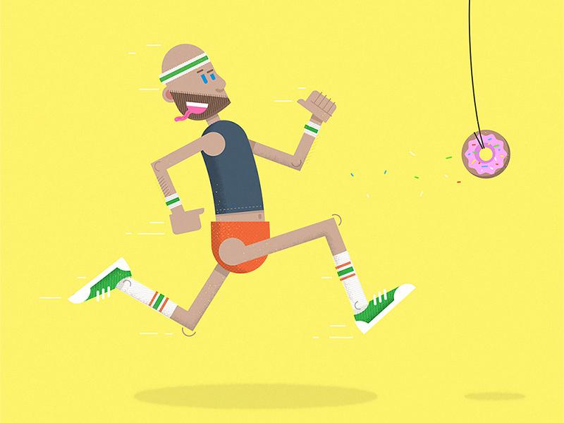 I run for donuts rubber hose gold bond sugar high tube socks running sprinkles sleeveless belly t short shorts donuts illustration