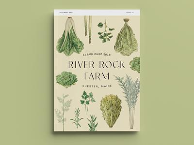 River Rock Farm Catalog branding design packaging farm to table vegetables typogaphy rural natural botanic botanical illustration botanical art farm logos catalog