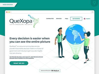 QueXopa Web Design- Header branding design ui  ux big data data data collection latam latin america latin ui web design website