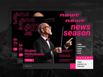 News Season — Web Journal webdesign web ux ui theme site pink navigation modern menu design black