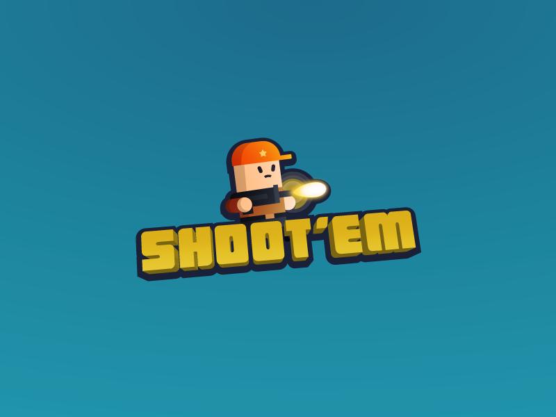 Shoot'Em Logo vector illustration game logo game design game art mobile ui game shooting