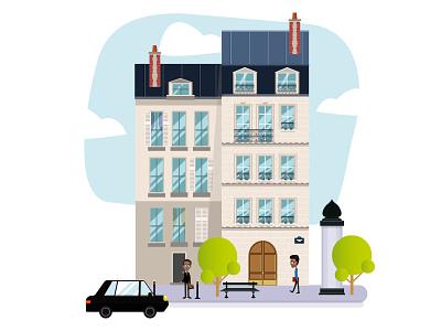 Paris Go to Work house building lifestyle landscape city vector paris illustrations