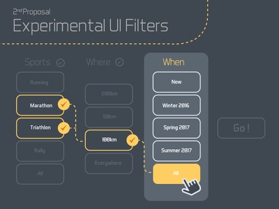 Experimental UX Filters filters experimental interface web design select box search field ux ui