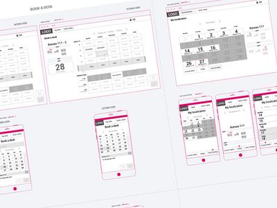 UX Meeting Room Booking prototype grid mobile wireframe web calendar book booking ui design ux